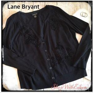 Lane Bryant Black Sequin Button Front Cardigan
